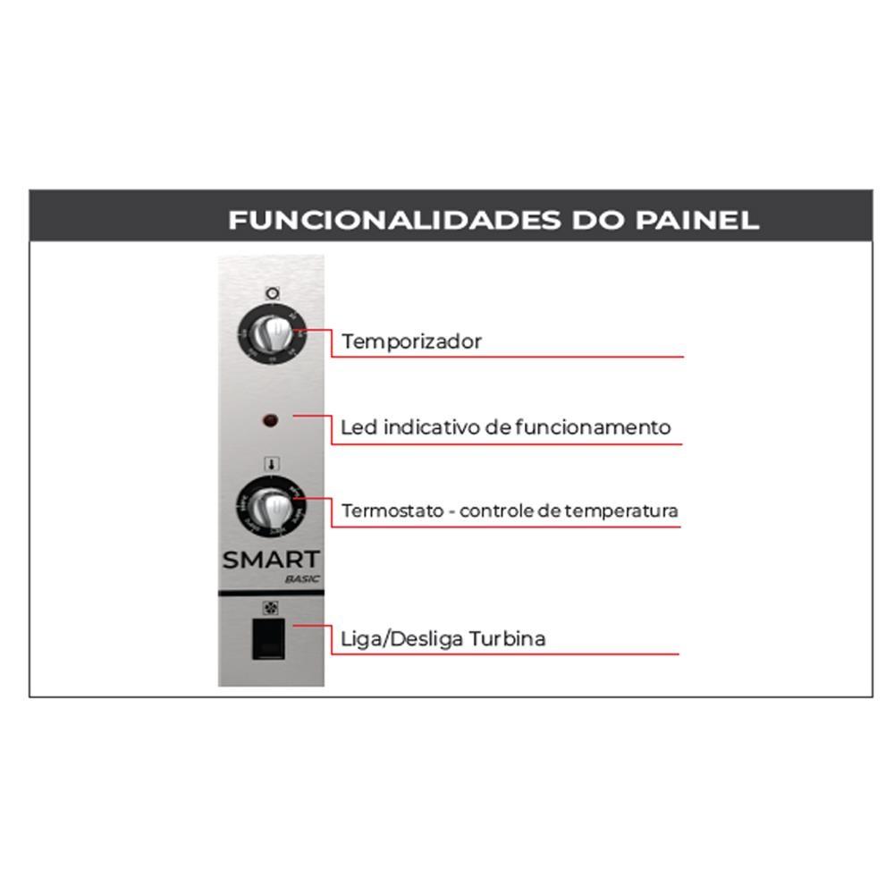 FORNO CONVECTOR SMART BASIC ELÉTRICO PRETO E INOX